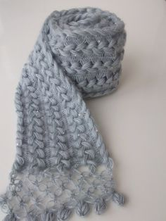 Hairpin lacy crochet scarf / Lace Hairpin - All Seasons-Gray mohair ivy scarf- via Etsy. -lovely joins!