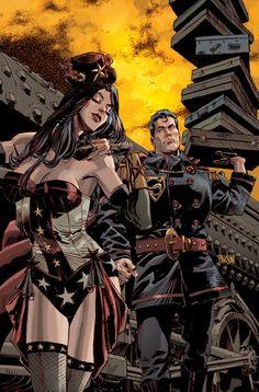 Superman Wonder Woman Steampunk by urban-barbarian