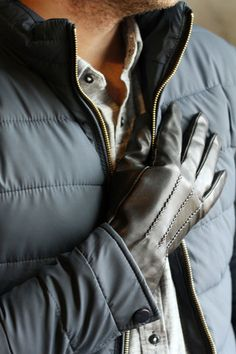 Men's Lambskin Leather Gloves with Cashmere Lining