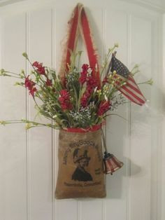Vintage feedsack style door decor would look great displayed on door for the 4th of July