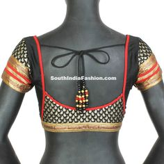 short sleeve saree blouse design