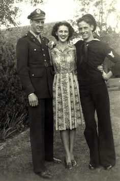 Marilynn Paschall with brothers Maurice and Bill, 1945, Bridgeport, Texas