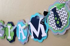 Little Man Neck Tie Chevron Stripe Polka Dot NAME Banner Navy Blue Gray Turquoise Green Baby Shower Birthday Party BowTie Decoration on Etsy, $26.00