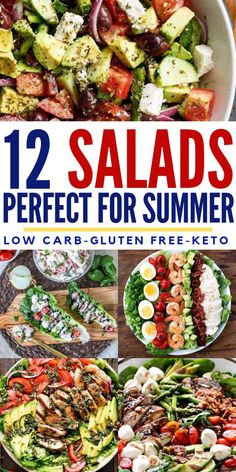 12 Summer Salads That Will Actually Help You Lose Weight Fill up and enjoy these 12 best KETO salads. Losing weight doesn't get much easier than this with these satisfying low carb salad ideas that Healthy Summer Recipes, Healthy Salad Recipes, Lunch Recipes, Keto Recipes, Cooking Recipes, Best Summer Salads, Dinner Salads Healthy, Dinner Salad Recipes, Diabetic Salads