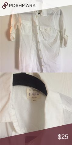 White J Crew Factory button down Like new, worn only a few times. White button down size xs J. Crew Tops Button Down Shirts