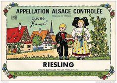 68 – BENNWIHR - Étiquette de vin d'Alsace – Cuvée Hansi – Illustration d'après Hansi