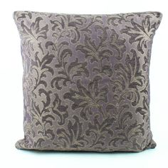 Purple Chenille Euro sham 26x26 Pillow cover kilim, Textured chenille floral Luxury Sofa Pillow, Upholstery pillow cover