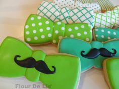 Mustache Bow Tie Cookies, by Flour De Lis