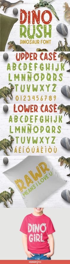 This fun childish font will give your projects the playful and youthful touch you desire. This beautiful product is perfect to give kid related creations that dinasour feel. This product contains: DinoRush.otf