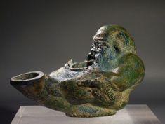 Roman bronze Silenus oil lamp.