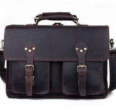 Large Leather Backpack / Travel Bag / Briefcase / Satchel - 2 ways: backpack / messenger(S13)