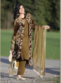 Velvet Pakistani Dress, Simple Pakistani Dresses, Pakistani Fashion Casual, Indian Fashion Dresses, Pakistani Dress Design, Indian Designer Outfits, Pakistani Outfits, Fancy Dress Design, Stylish Dress Designs