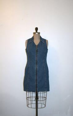 denim mini dress zip up collared sleeveless by nightowlvintageshop, $34.00