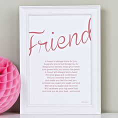 Friendship Poem Print from notonthehighstreet.com