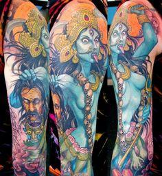 Bad ass Kali tattoo by Rob Noseworthy Kali Tattoo, Arm Sleeve Tattoos, Chest Tattoo, Leg Tattoos, Tatoos, Ribbon Tattoos, Flower Tattoos, Cool Tattoos For Guys, Badass Tattoos
