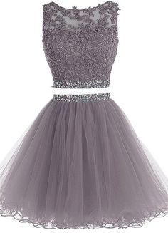 2 Pieces Short Homecoming Dresses Short Beading Pom Dresses