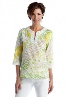 Alfred Dunner  Petite Fresh Picked Abstract Patchwork Blouse