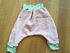 Sarouel minuscule infini 12M - tissu crepon rose France Duval  & jersey Liberty