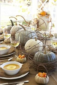 Blue and white pumpkins as centerpiece. Cute mini pumpkins as garnish holders for soup.