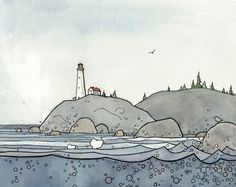 Lighthouse and Whales Coast Illustration Print by studiotuesday