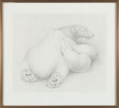 RIDLEY BORCHGREVINK WIMBLEDON, ENGLAND 1898 - ASKER 1981  Polar Bears, 1972  Lithography, 51/100. 42x51 cm  Signed and dated lower right: Ridley Borchgrevink 72 Polar Bears, Wimbledon, Dinosaur Stuffed Animal, Sculptures, England, Fine Art, Prints, Painting, Animals
