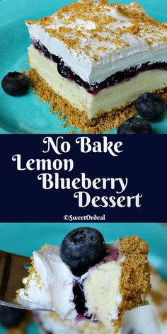 No Bake Lemon Blueberry Dessert in a 13 x 9 dish easy to make easy to carry easier to eat. Mini Desserts, Cold Desserts, No Bake Desserts, Easy Desserts, Delicious Desserts, Healthy Lemon Desserts, Refreshing Desserts, Oreo, Thanksgiving Desserts