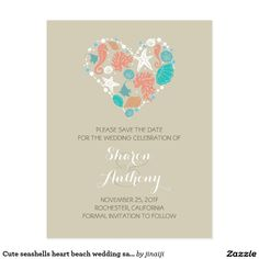 Cute seashells heart beach wedding save the date postcard Romantic and casual beach wedding save the date postcard for destination, nautical and seaside weddings. Save the date with hand drawn seashells, sand dollars, corals, starfish, seahorse, tropical fish... and white sea pearls love heart. Please browse my store to find all beach beach heart wedding set products