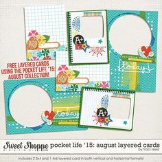 Free Pocket Life '15 August Layered Cards from Traci Reed {on Facebook}
