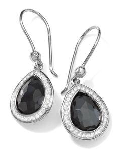 Stella Teardrop Earrings in Hematite & Diamonds, 28mm, SILVER - Ippolita
