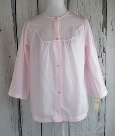 9a46f9b904 Details about Nancy King Fleece Pajama Top Sleepwear PJ Button Front Flowy  3 4 Sleeve Pink S