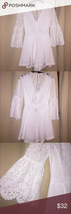 DISCOUNT!! FABULOUS WHITE RHOMPER Only worn 2 times. Great condition! No stains Mustard Seed Dresses