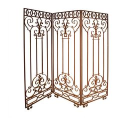 1STDIBS.COM - AWK Design Antiques - Wrought Iron Screen ❤ liked on Polyvore featuring home, home decor, room dividers, screens, antique home decor, antique screen, wrought iron home decor and wrought iron screen
