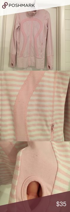 Lululemon Pig Pink Stripe Stride Jacket ❤️NOTE: VERY PRE-LOVED ❤️with Many signs of Wear PILLING Throughout and stain on right arm see pictures  SIZE 6 this is an Older Style Jacket still has plenty of Wear left in it I Will Lint Roll before shipping💙💙NO TRADES💙💙 lululemon athletica Jackets & Coats