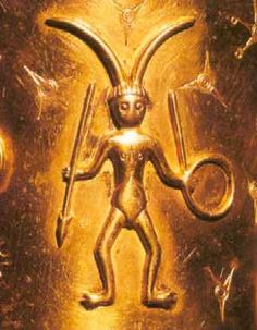 Horned God, Denmark 5th century similar to semitic horned kings, with hoop/ankh in hand