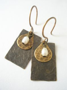 Mixed Metal Earrings Hammered and Antiqued Copper by esdesigns65, $25.00