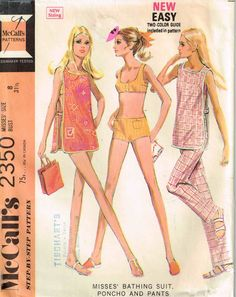 Vintage 1970s Swimsuit Pants and Bra Top and Cover Up McCalls 2350 Sewing Pattern by PeoplePackages