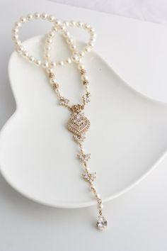 Wedding Jewelry Gold Backdrop Necklace Long Back by LuluSplendor