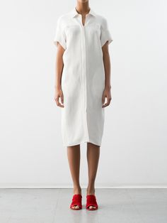 """Sustainably-sourced woven linen-viscose shirt dress features a stand collar, open neckline and short sleeves. Hidden front button closure.FINAL SALEAll Overstock Sale purchases are Final. Not eligible for return or exchange. Fit guide Fits true to US sizing. Model is 5'9"""" tall and wears a size US 4. For more informatio The White Album, Sale Purchase, Short Sleeves, Short Sleeve Dresses, Concave, Linen Dresses, Shirt Dress, My Style, Front Button"""