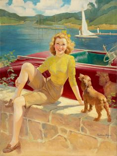Frederic Kimball Mizen (American, 1888-1964) - Pin-Up with Puppy