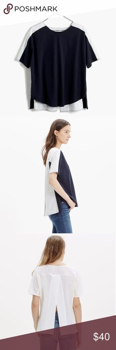 Madewell: Medium oxford panel tee A swingy open-back T-shirt in a mix of soft jersey and crisp shirting fabric.  Cotton. Slightly oversized, split back. Basically two for one. NEVER WORN. Madewell Tops Blouses