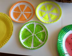 Fun summer kid craft: Paper Plate Fruits. Could do as a STEM program: make observations and record them