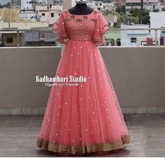 Best 12 Stunning blush pink color floor length dress with bell sleeves. Floor length dress with floral design hand embroidery gold thread and bead work. This out fit is Available at 11000 from house of Kadhambari.They can customize the colour and size as Party Wear Indian Dresses, Gown Party Wear, Indian Gowns Dresses, Dresses Dresses, Long Gown Dress, Frock Dress, Long Gowns, Saree Dress, Long Frocks For Girls