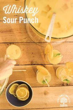 What makes a classic whiskey sour even better? When you add with Florida Orange Juice to the mix. Serve in a punch bowl at parties and show your guests some real southern hospitality! # lose weight in 2 weeks with exercise Whiskey Sour, Whiskey Drinks, Cocktail Drinks, Cocktail Recipes, Milk Shakes, Party Dips, Sangria, Cheers, Punch Recipes