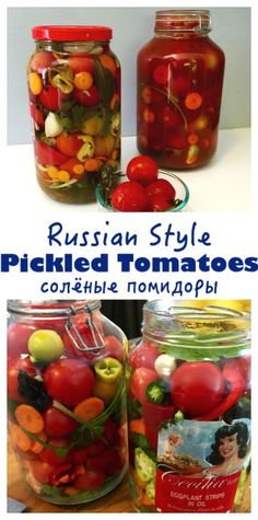 Enjoy your fresh, local tomatoes by preserving them Russian-style. Pickled with garlic and herbs, these canned tomatoes are a staple year round - Russian Pickled Tomatoes (солёные помидоры) Tomato Garden, Garden Tomatoes, Pickled Tomatoes, Pickled Garlic, Pickled Eggs, Canning Food Preservation, Canning Pickles, Growing Tomatoes, Preserving Tomatoes
