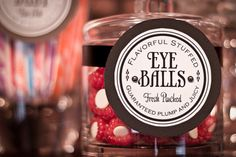 Free Printable Candy Labels from Wall Written - raspberries as eyeballs