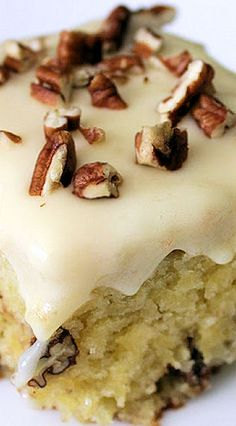 Pineapple Pecan Cake ~It's easy... all done in one bowl and the cream cheese frosting is divine!