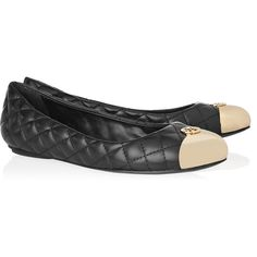 Tory Burch Kaitlin quilted-leather and metal ballet flats ($265) ❤ liked on Polyvore