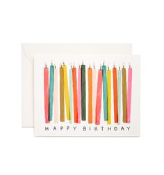 Birthday Candles Available as a Single Folded Card or a Boxed Set of 8