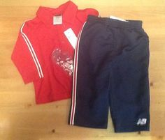 NEW BALANCE athletic TRACK Pants And Top Long Sleeve NWT 18 Months Blue Red #NewBalance #Everyday