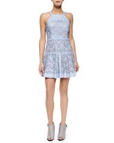 T9FYD Parker Sabella Sleeveless Laser-Cut Leather Dress